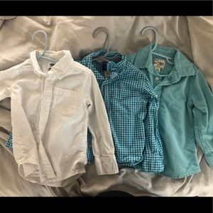 Lot of 3 2T BOYS Spring Dress Shirts 👔 White/Blue